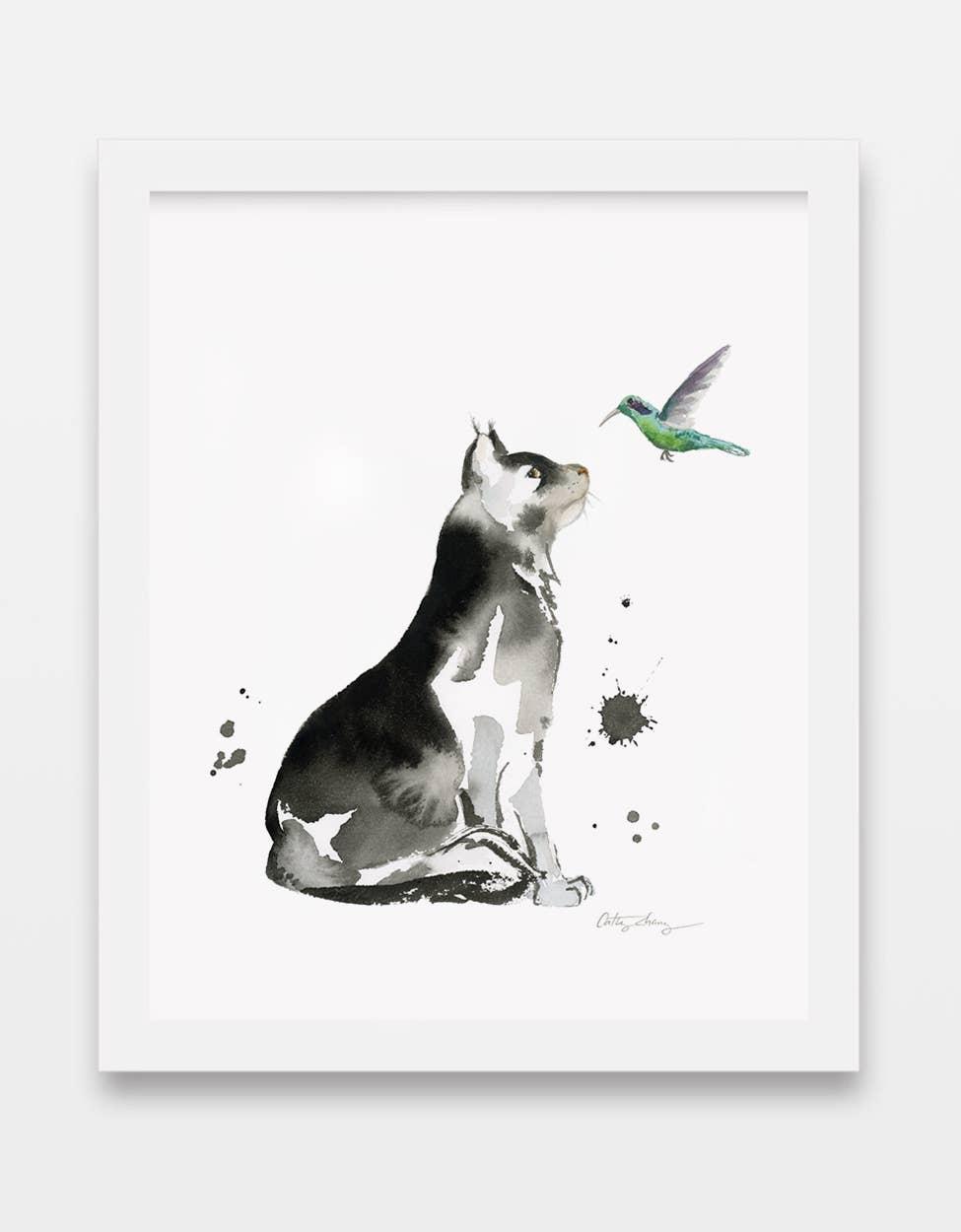 Cat & Hummingbird Watercolor Art Print | Trada Marketplace