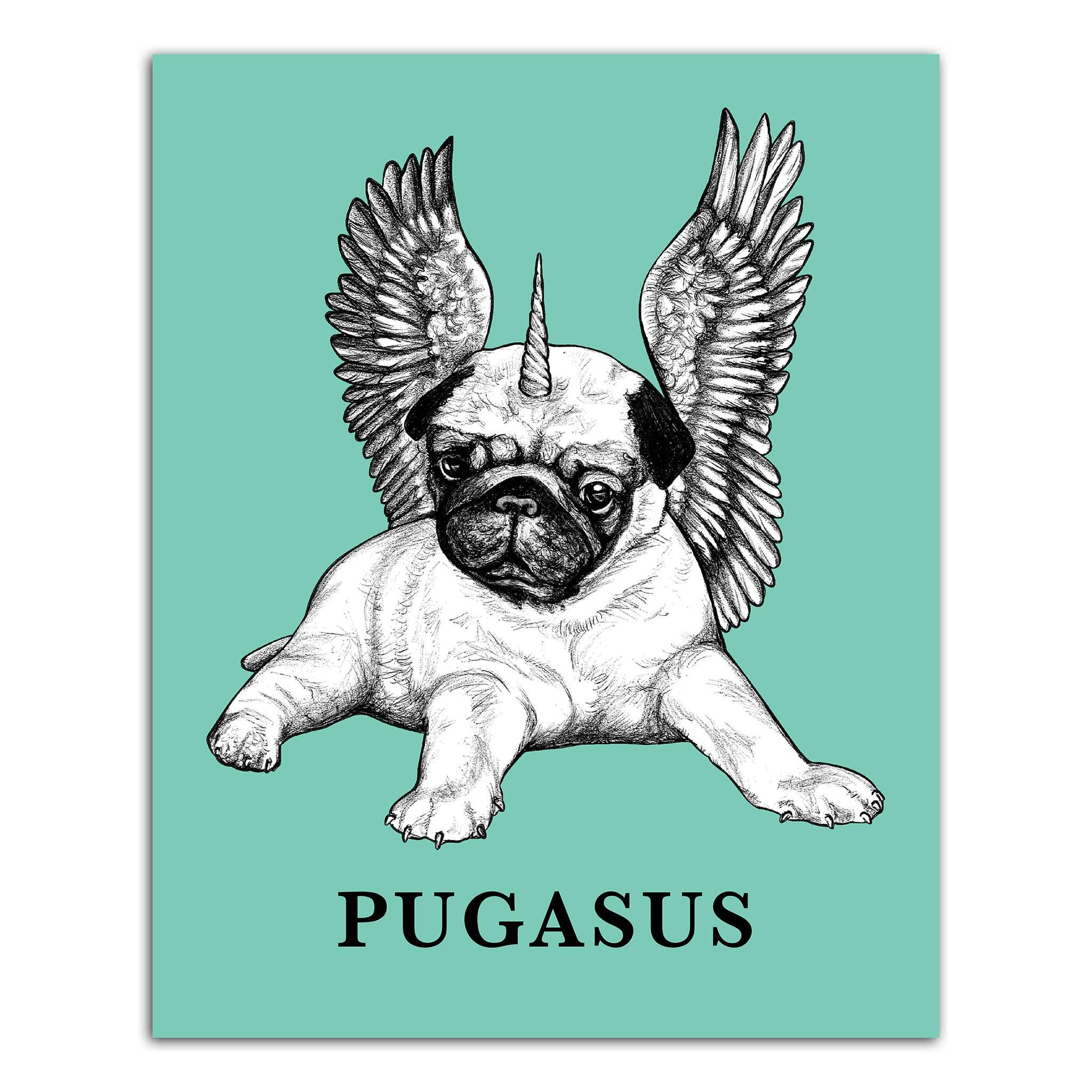 "Pugasus 8x10"" Art Print   Trada Marketplace"