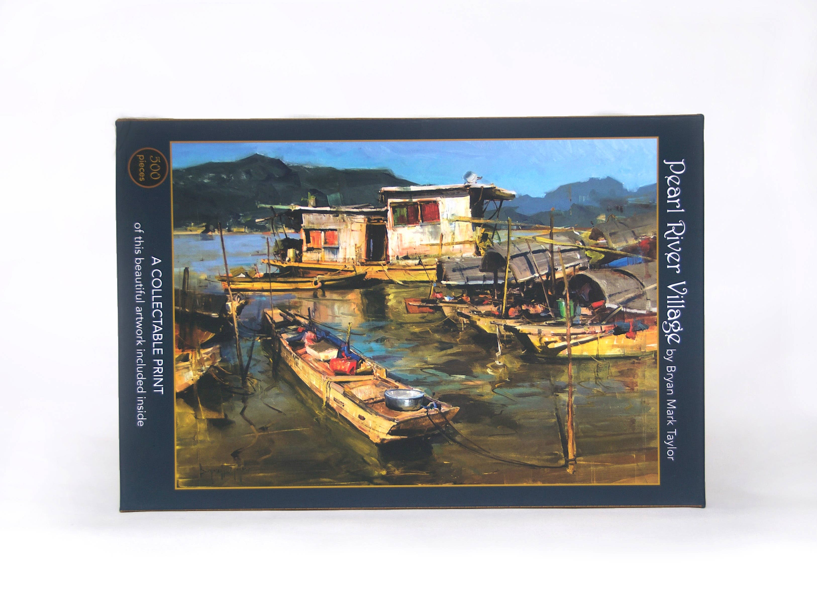 Pearl River Village;  500-Piece Velvet-Touch Jigsaw Puzzle featuring the art of Bryan M. Taylor | Trada Marketplace