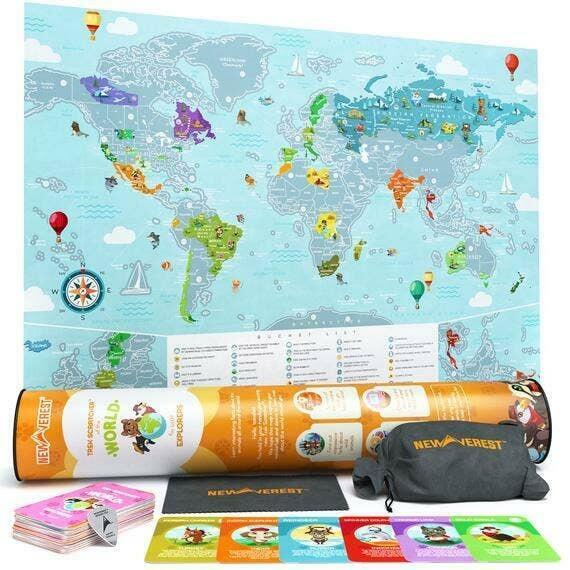 "Newverest Scratch Off World Map - Kids Edition 24"" x 17"" | Trada Marketplace"