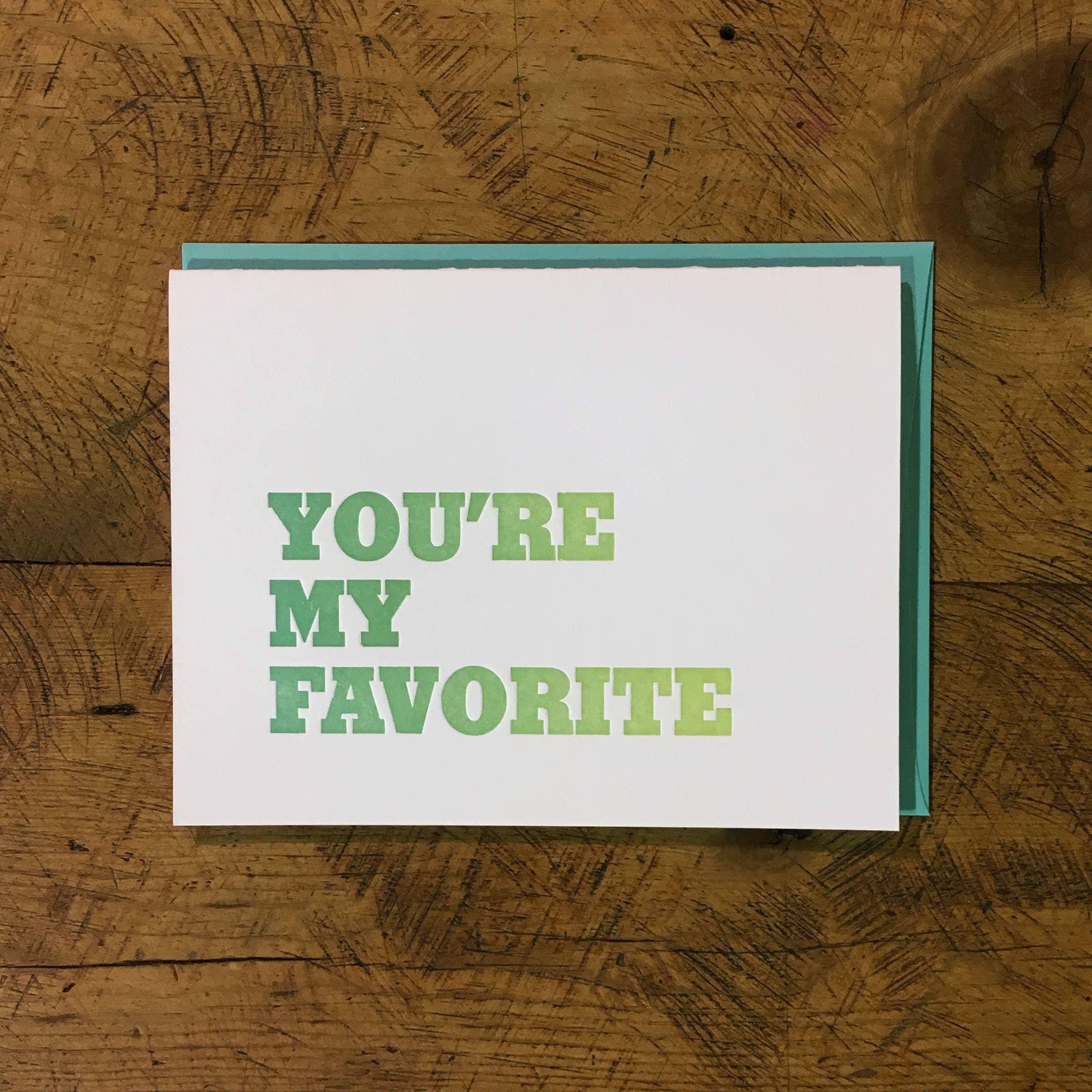 You're My Favorite Letterpress Card | Trada Marketplace