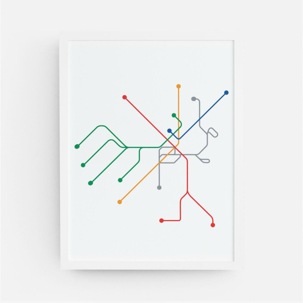 Boston Transportation Map Print | Trada Marketplace