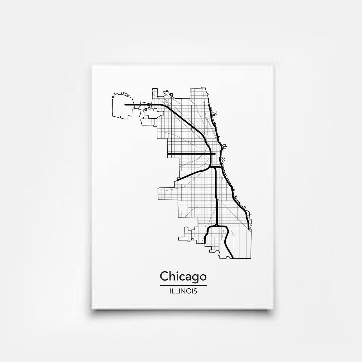 Chicago, Illinois City Map Print   Trada Marketplace
