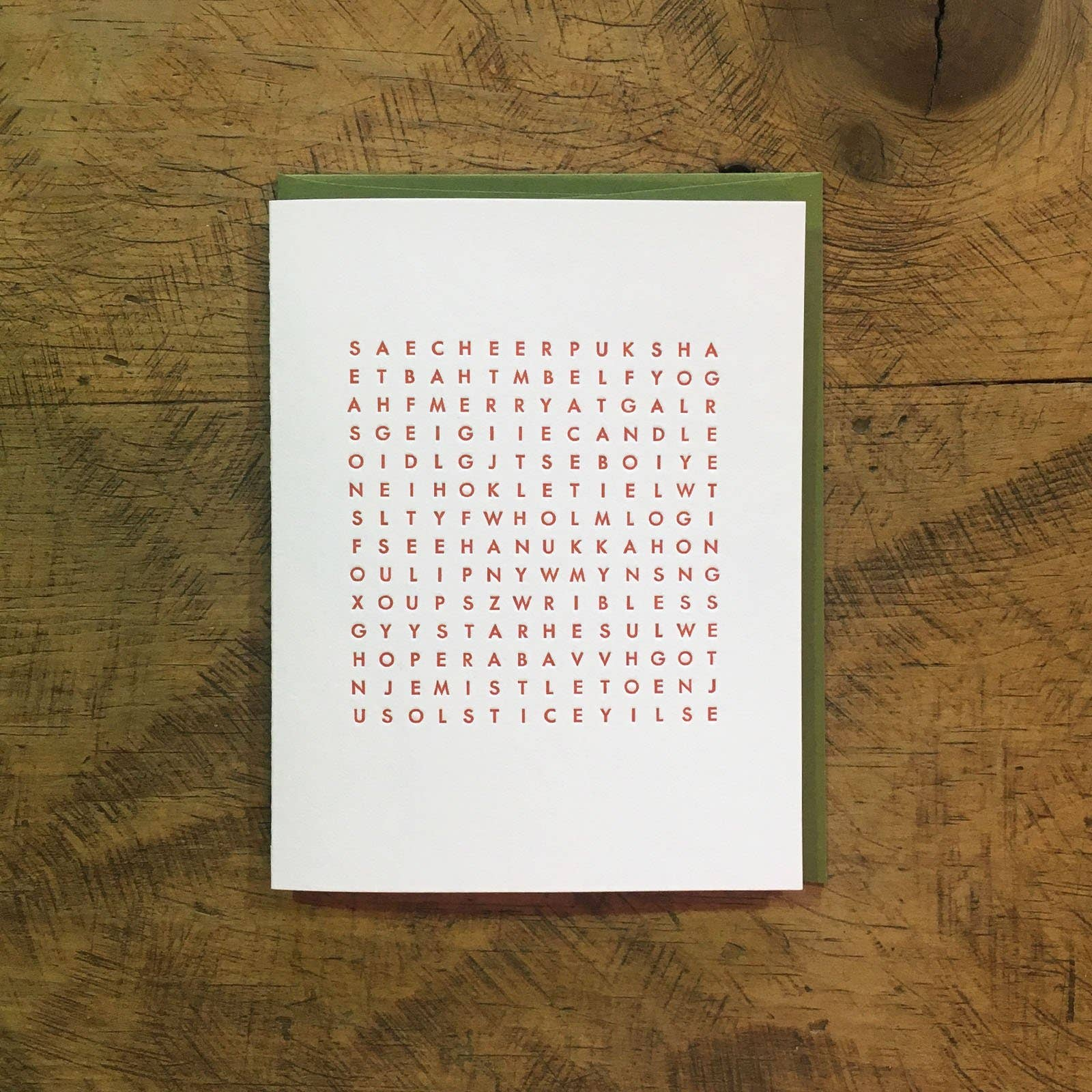 Holiday Word Search Letterpress Card | Trada Marketplace