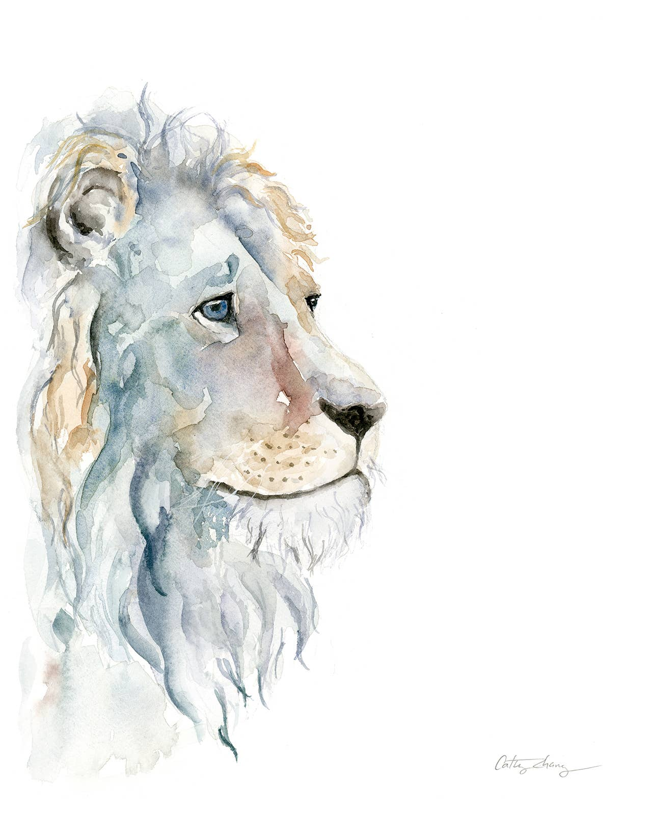 Introspective Lion Watercolor Art Print | Trada Marketplace