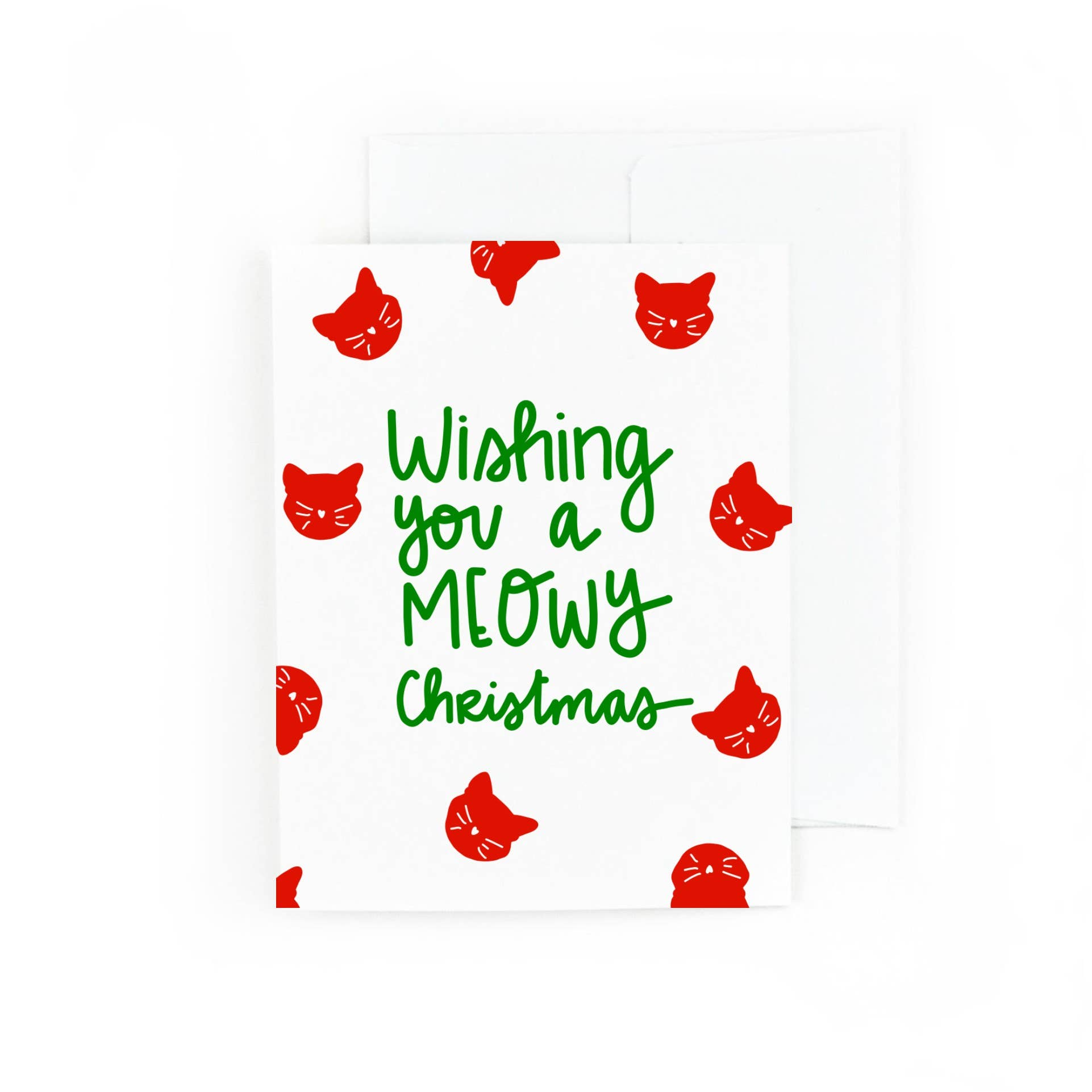 Wishing You a Meowy Christmas, Cat Holiday Card | Trada Marketplace