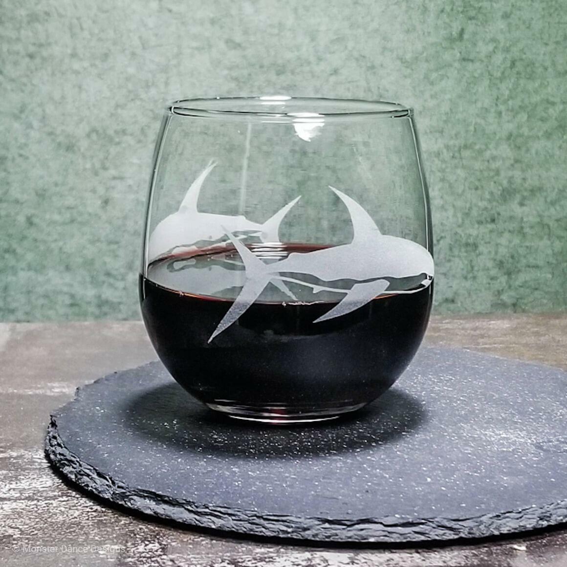 Great White Shark Stemless Wine Glass   Trada Marketplace