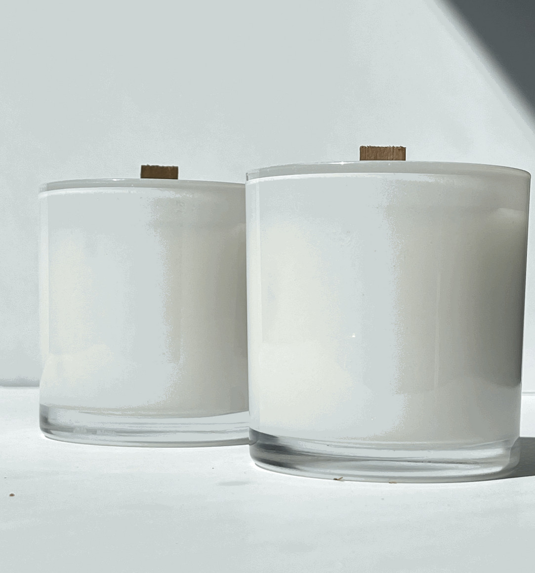 Coconut Soy Candles - Blue Spruce White Glass | Trada Marketplace