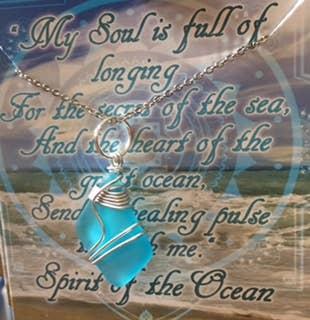 Aqua Ocean Blue wire wrapped sea glass necklace | Trada Marketplace