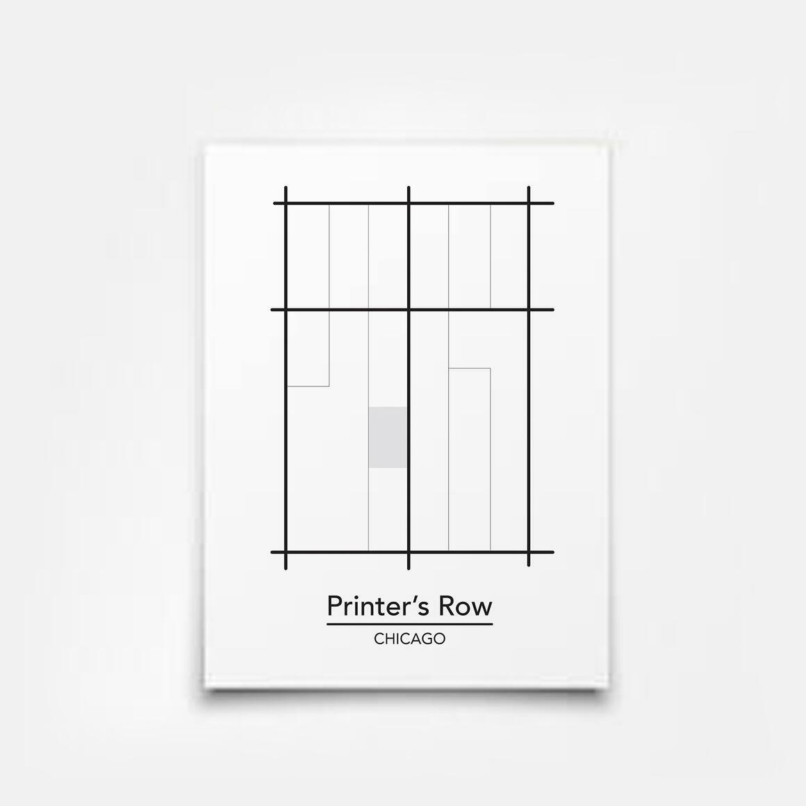 Printer's Row - Chicago Neighborhood Map Print | Trada Marketplace