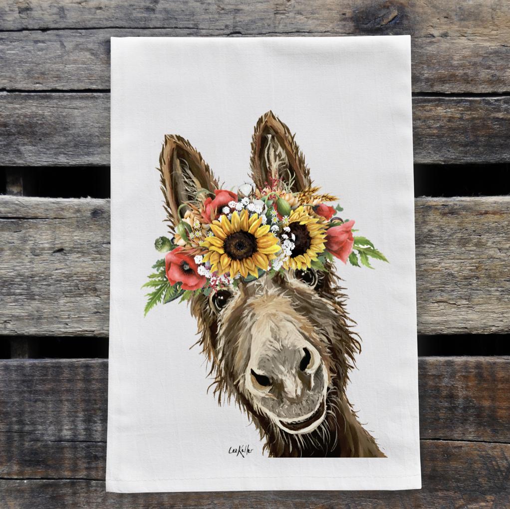 Colorful Sunflower Donkey Tea Towel, Farmhouse Towel Decor   Trada Marketplace