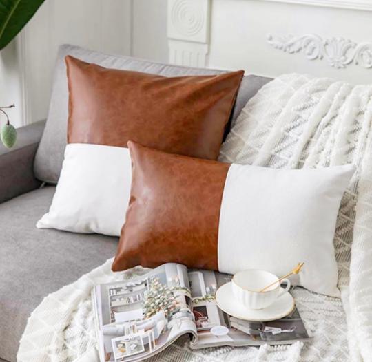Faux leather lumbar pillow, 12x20in/ 16x26 in   Trada Marketplace