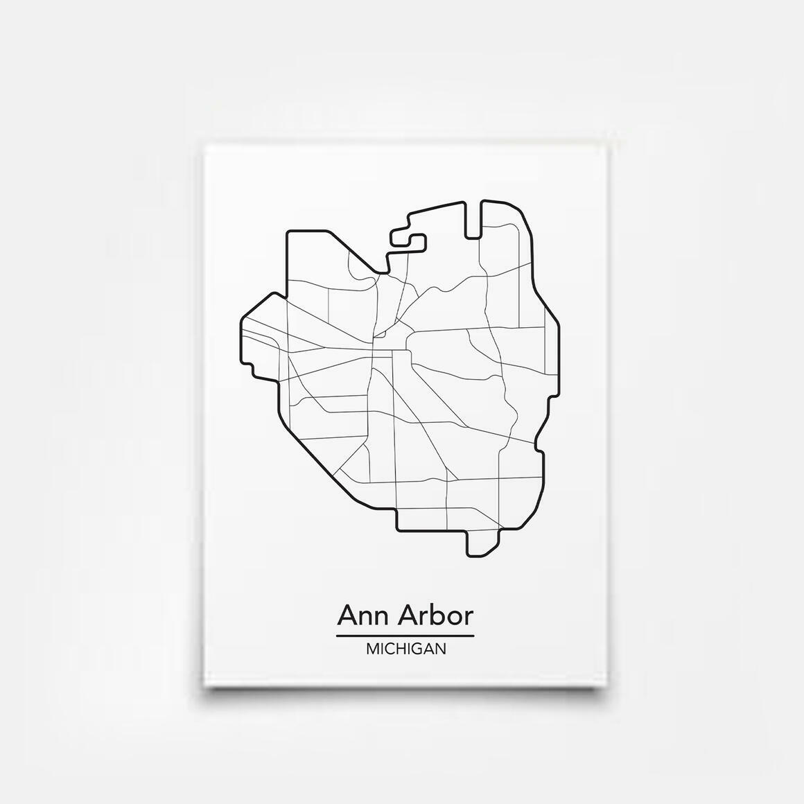 Ann Arbor, Michigan City Map Print   Trada Marketplace