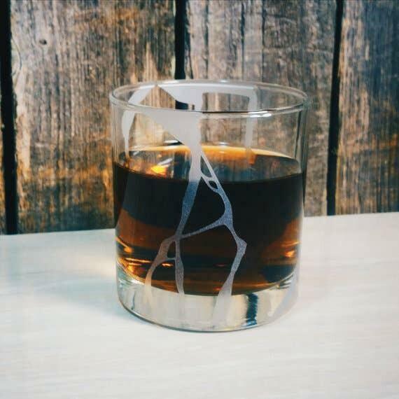 Kintsugi Wabi Sabi Etched Whiskey Glass   Trada Marketplace