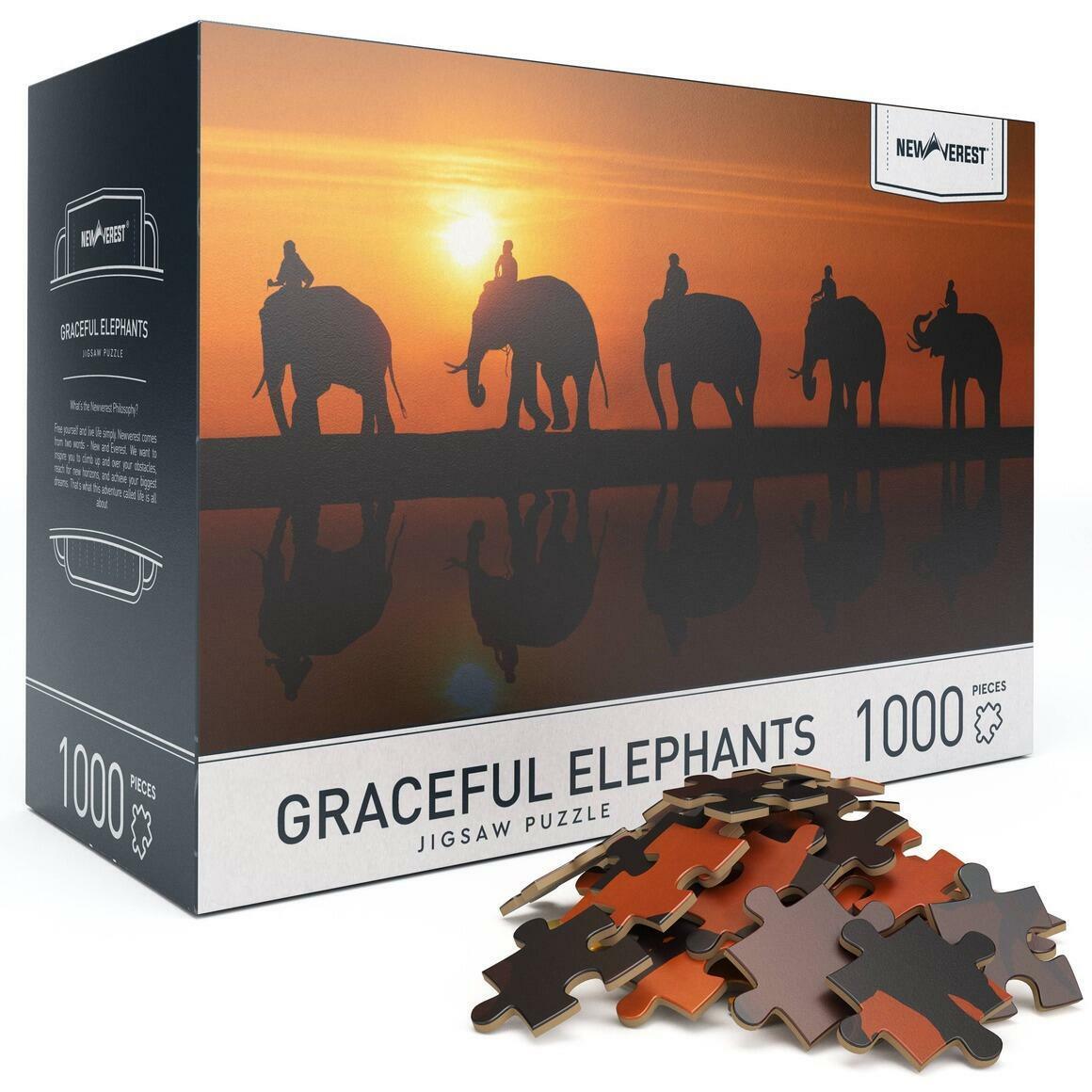 1000 pcs Newverest Graceful Elephants Jigsaw Puzzle | Trada Marketplace