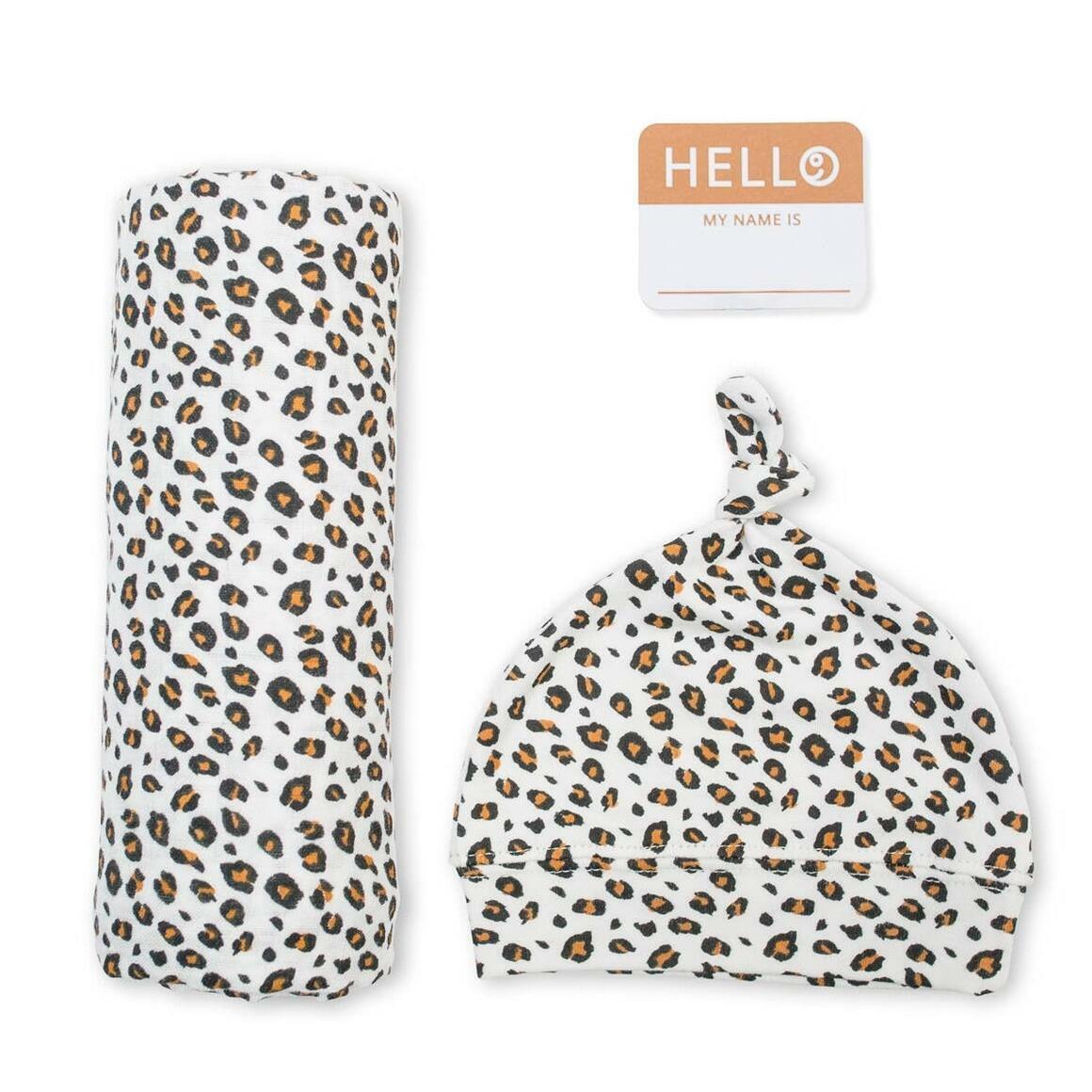 LeopardSwaddling Blanket & Matching Hat   Trada Marketplace
