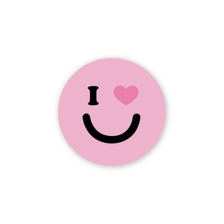 "I Heart You Pink Smiley 3"" Round Sticker | Trada Marketplace"