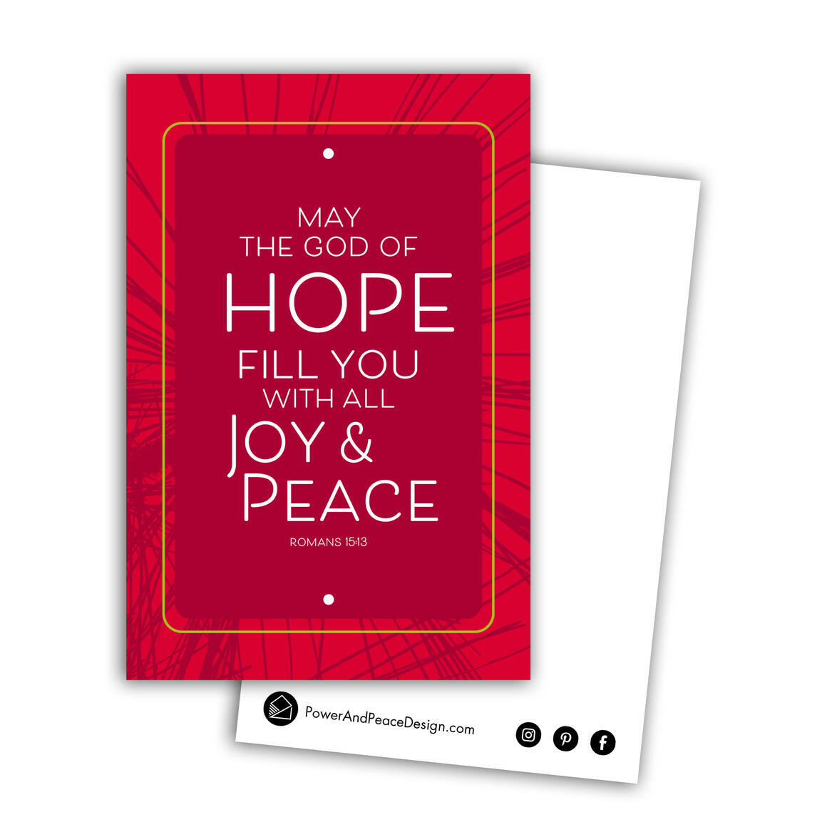 Romans 15:13 postcard in red   Trada Marketplace