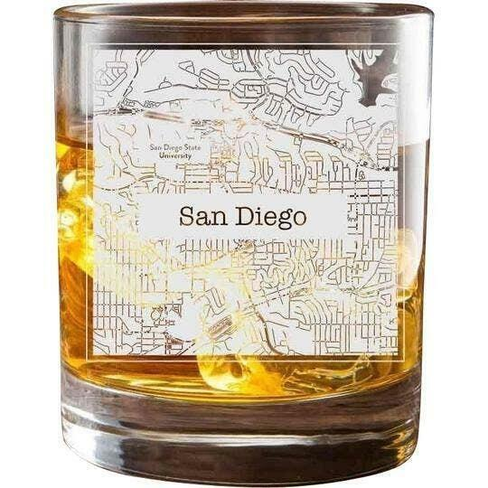 San Diego College Town Glasses (Set of 2)   Trada Marketplace