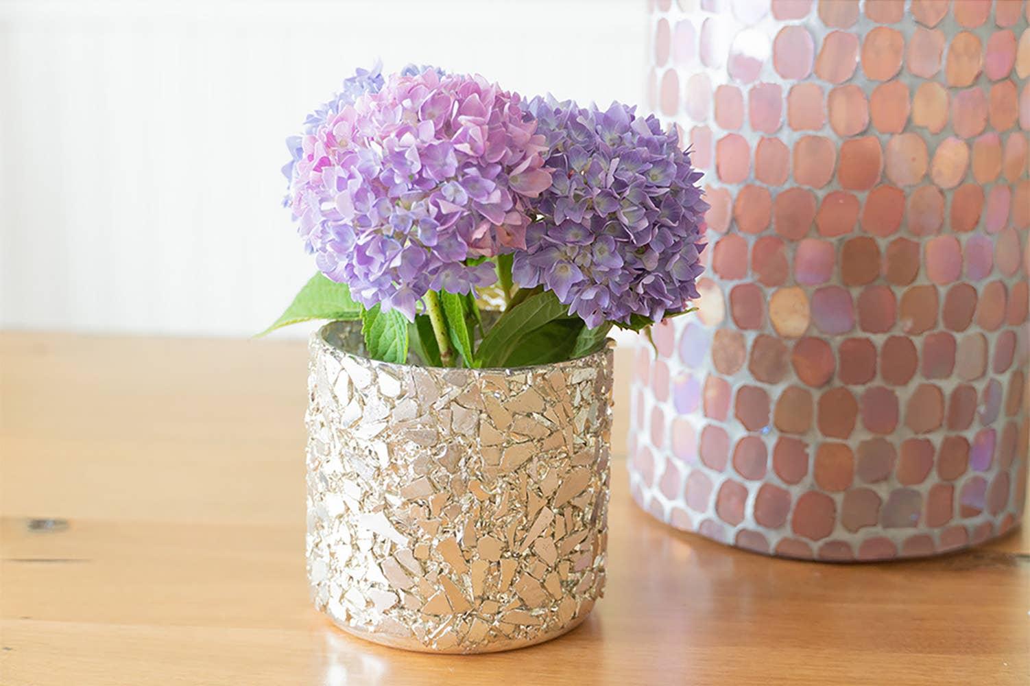 Silver Crushed Mosaic Candle Votive and Vase   Trada Marketplace