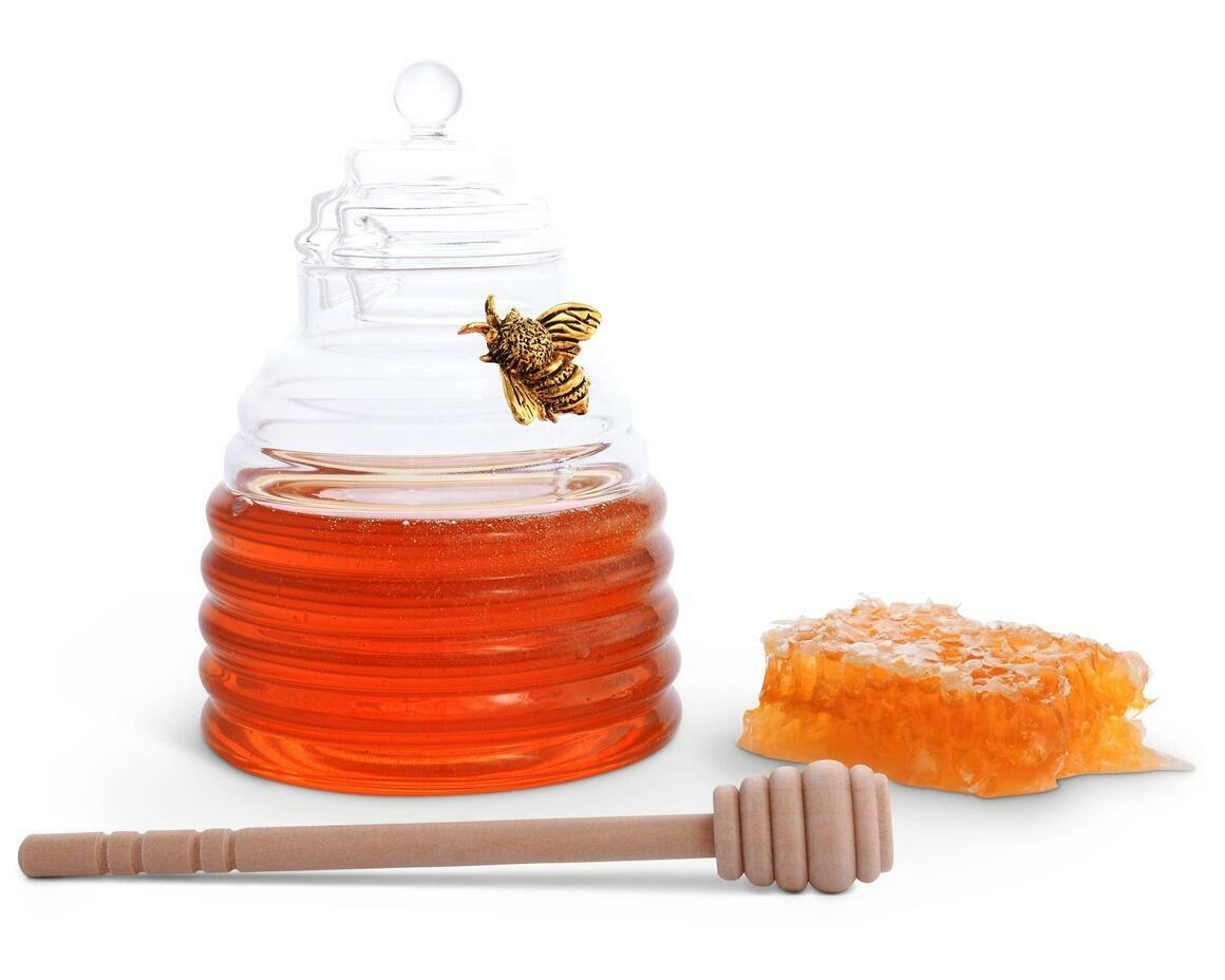 Gold Bee Honey Jar with Dipper | Trada Marketplace