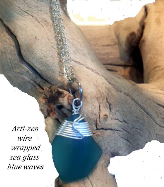 Arti-zen wire wrapped blue waves sea glass necklace | Trada Marketplace