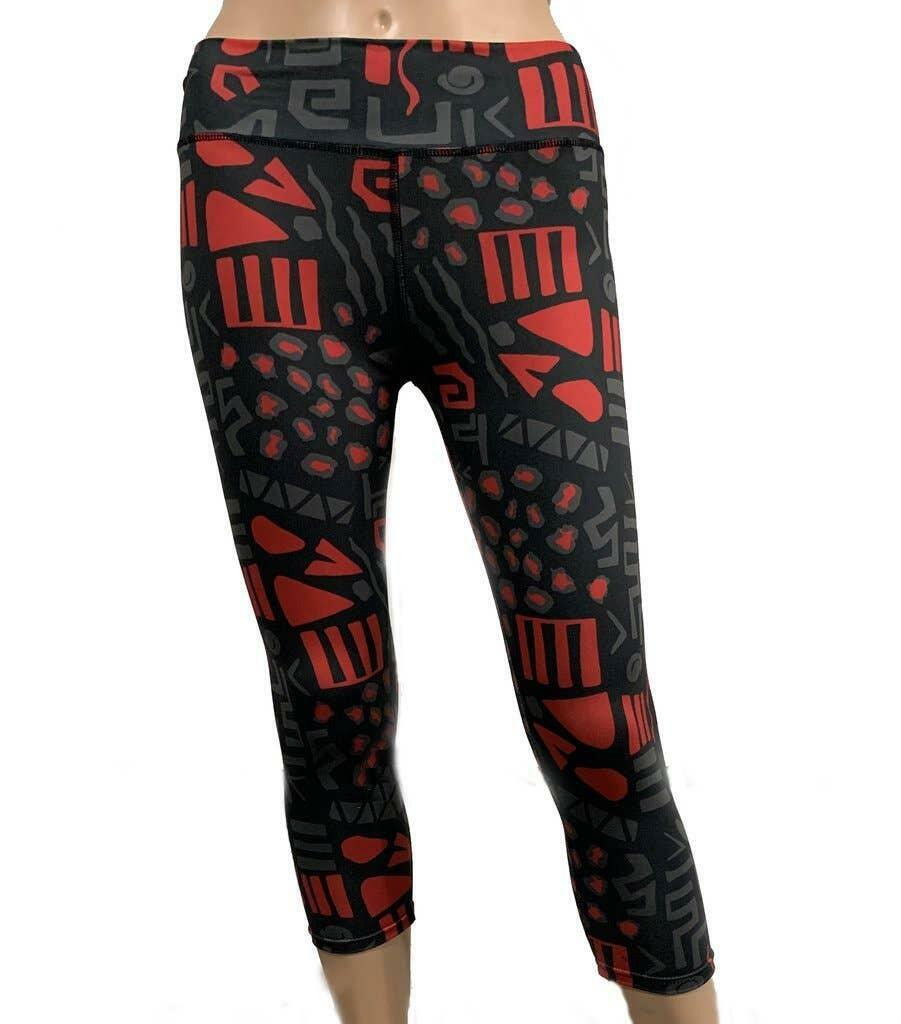 Black/Red Leopard Print Leggings with Control Top- 3/4 | Trada Marketplace