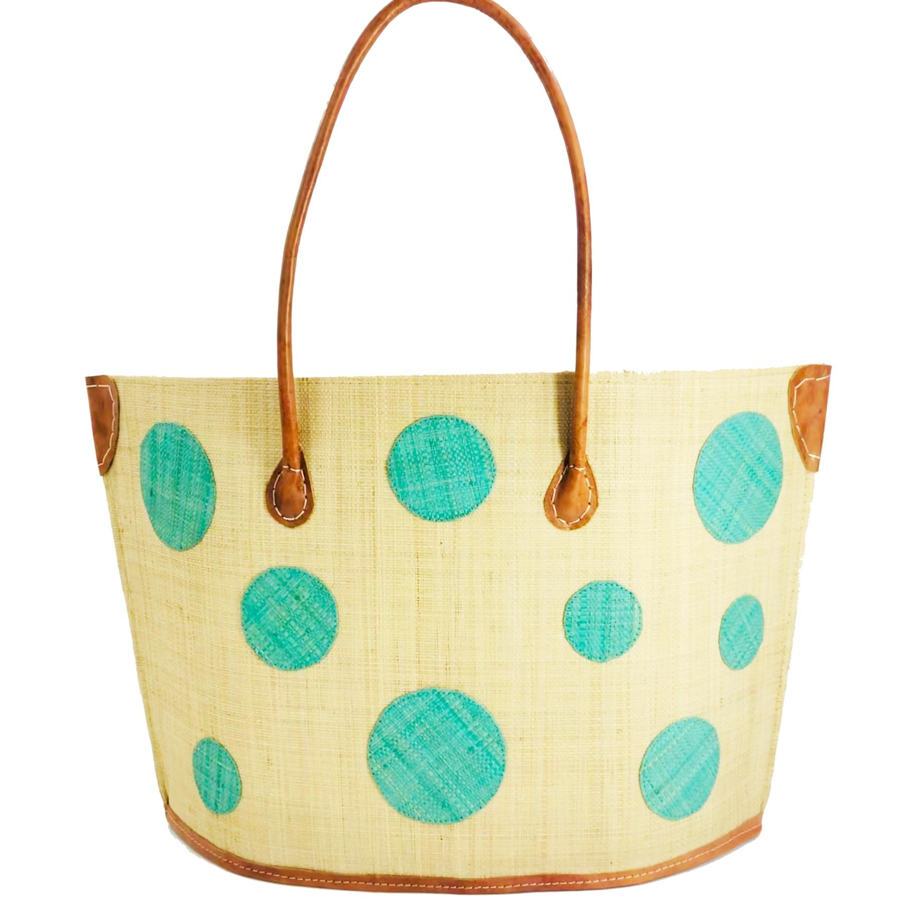 Capri Polka Dot Straw bag - Mint | Trada Marketplace