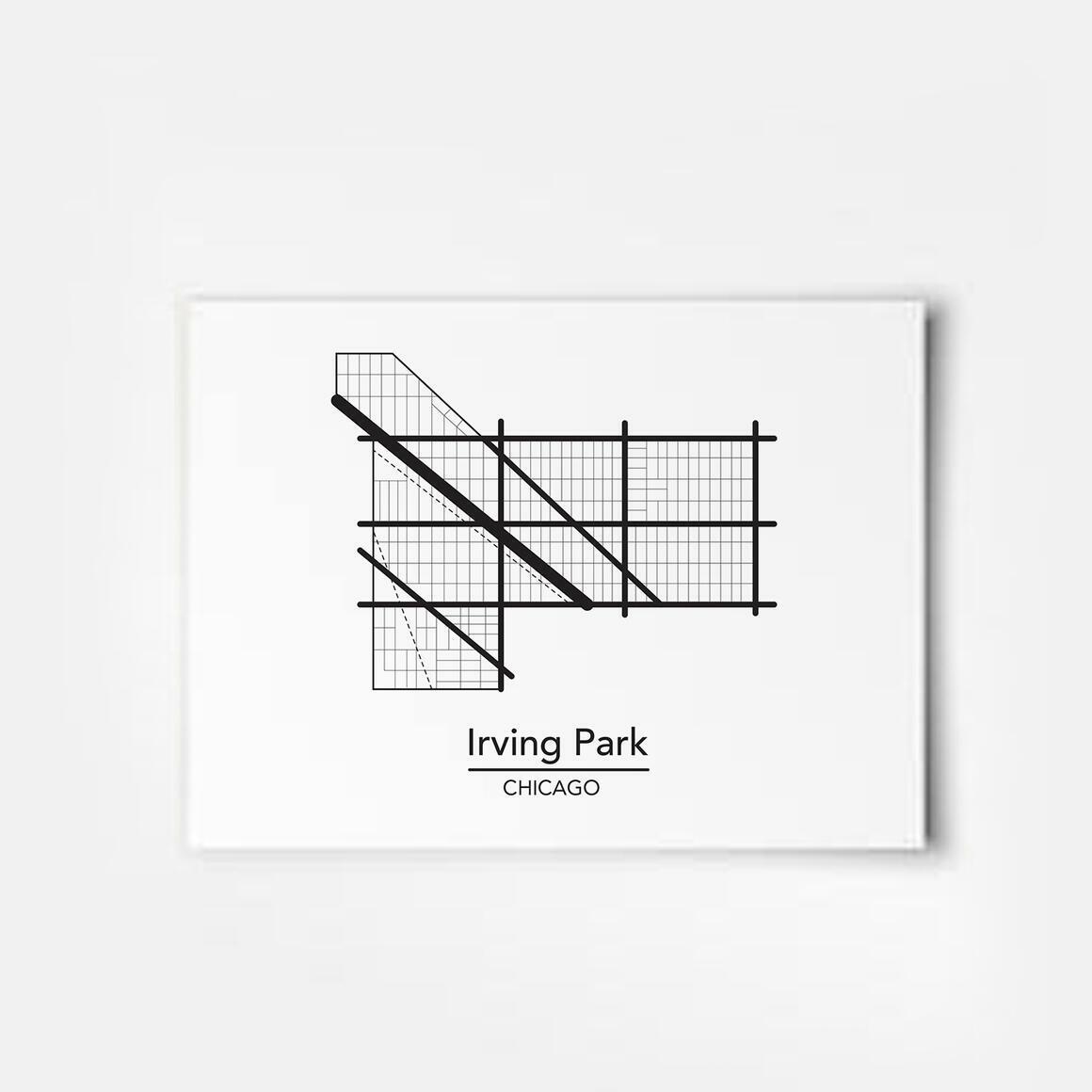 Irving Park - Chicago Neighborhood Map Print | Trada Marketplace