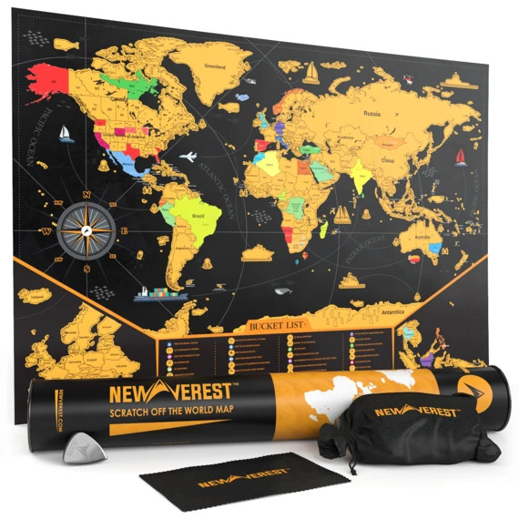 """Newverest Scratch Off Map Of The World 24"""" x 17"""" 