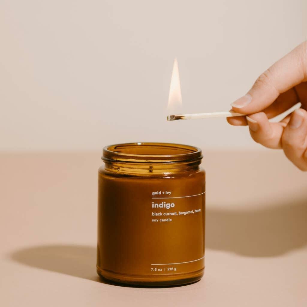 indigo 7.5 oz. soy candle - standard | Trada Marketplace