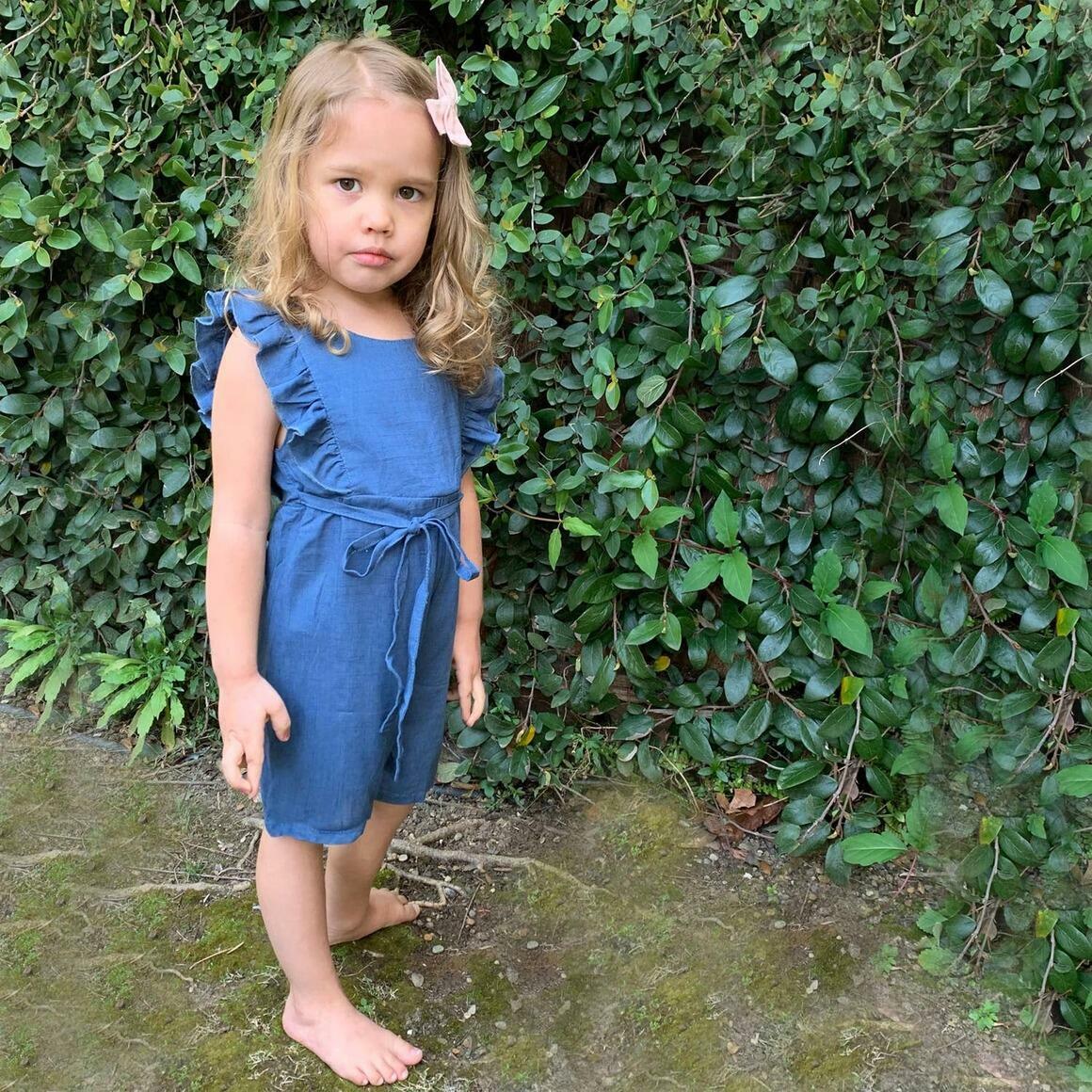 Navy Linen Ruffle Romper with Shorts | Trada Marketplace