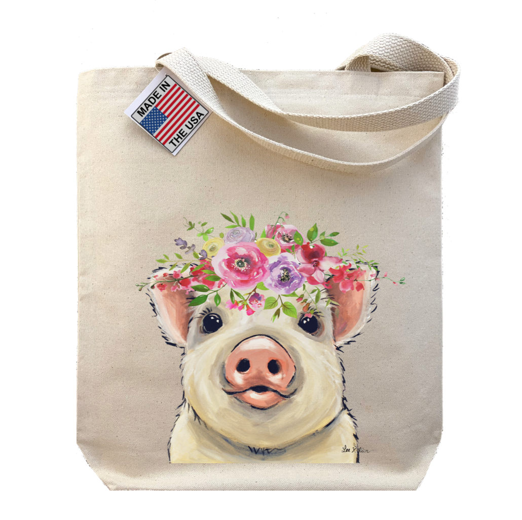 Spring Flower Pig Tote Bag, Gusset Tote Bag   Trada Marketplace