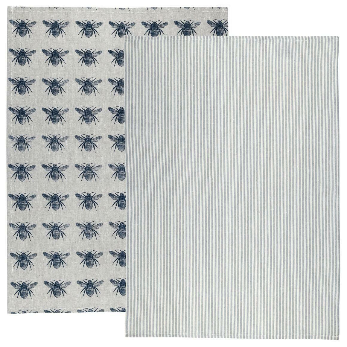 Prussian Blue Honey Bee Tea Towel Pack | Trada Marketplace