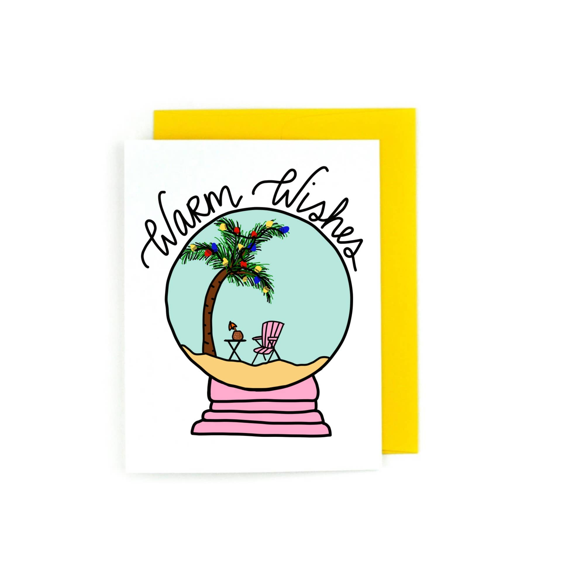 Warm Wishes Beach Holiday Snow Globe Greeting Card | Trada Marketplace