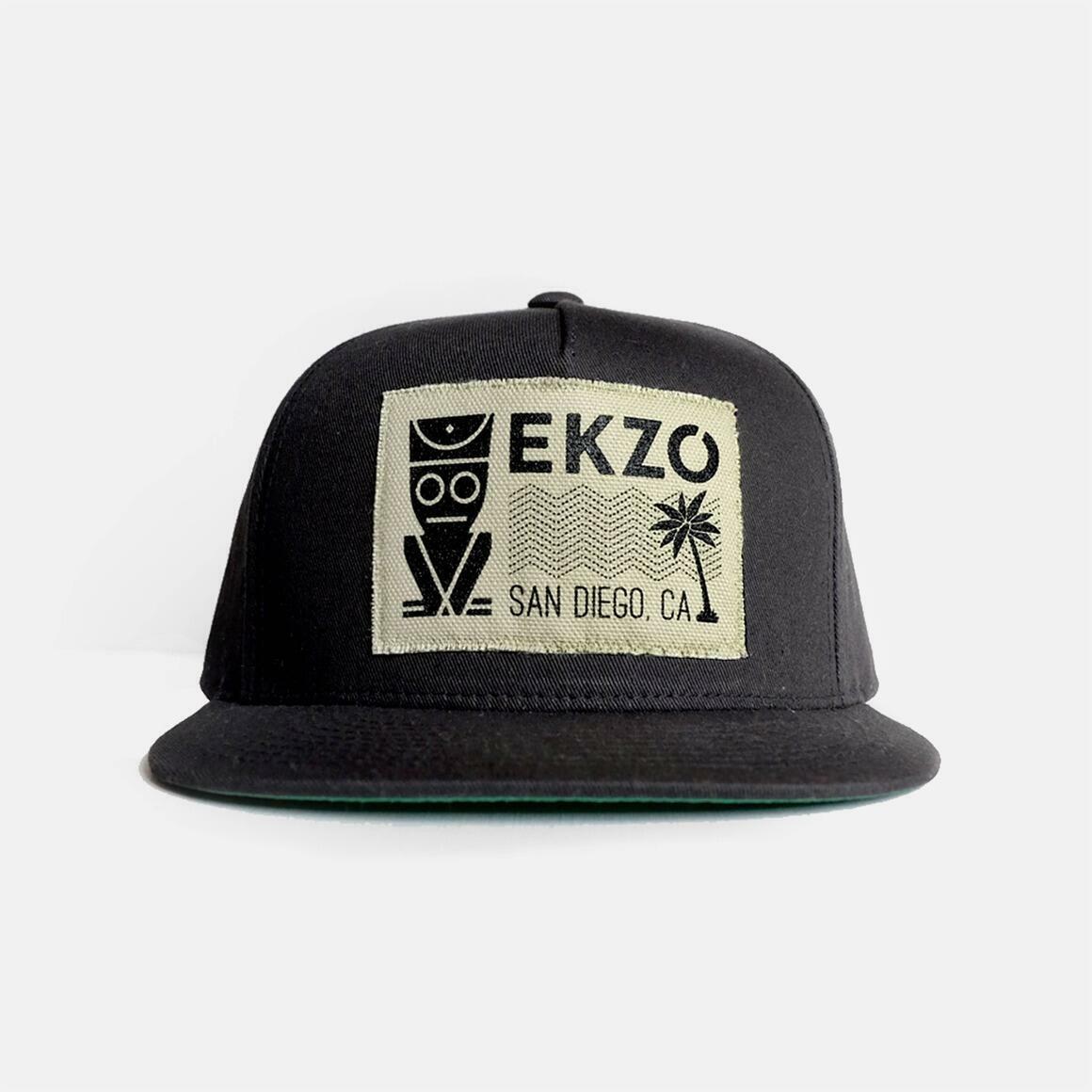 Black Snapback Hat Beige Patch | Trada Marketplace