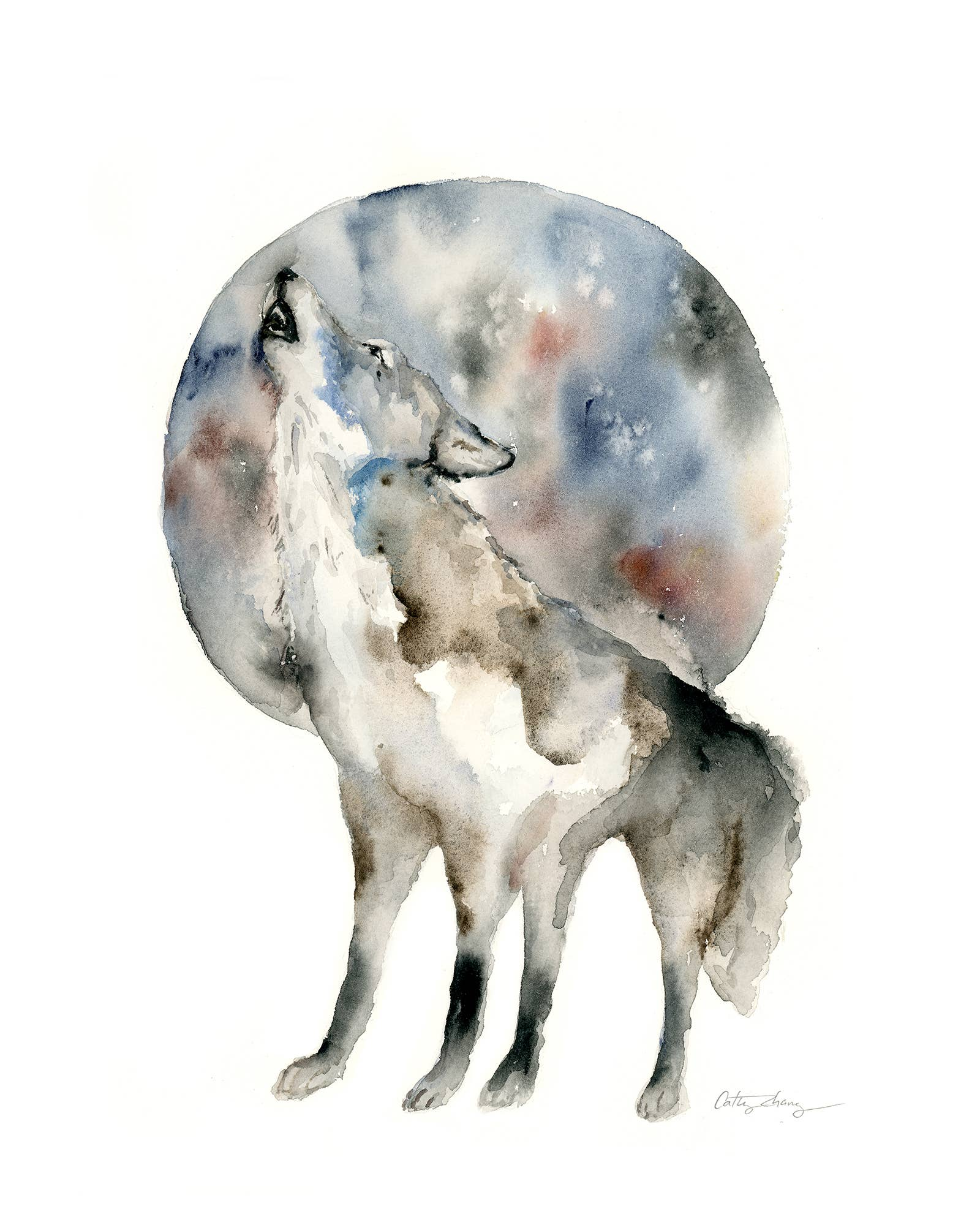 8'' x 10'' Howling Wolf Art Print | Trada Marketplace