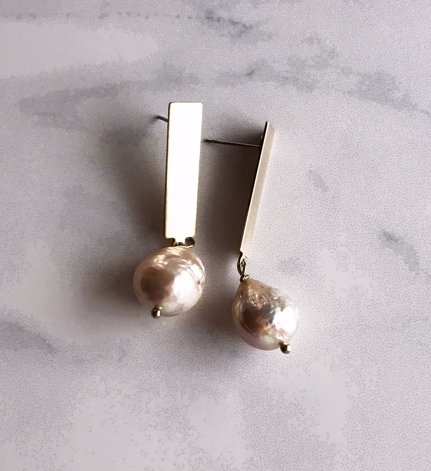pearl stick earrings - brushed brass   Trada Marketplace