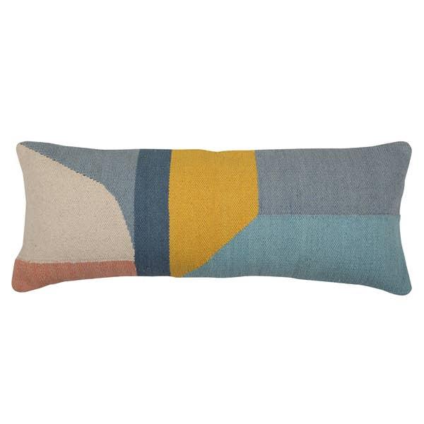 Handmade Geo Shapes Lumbar Cushion, Multi - 12x30 inch   Trada Marketplace