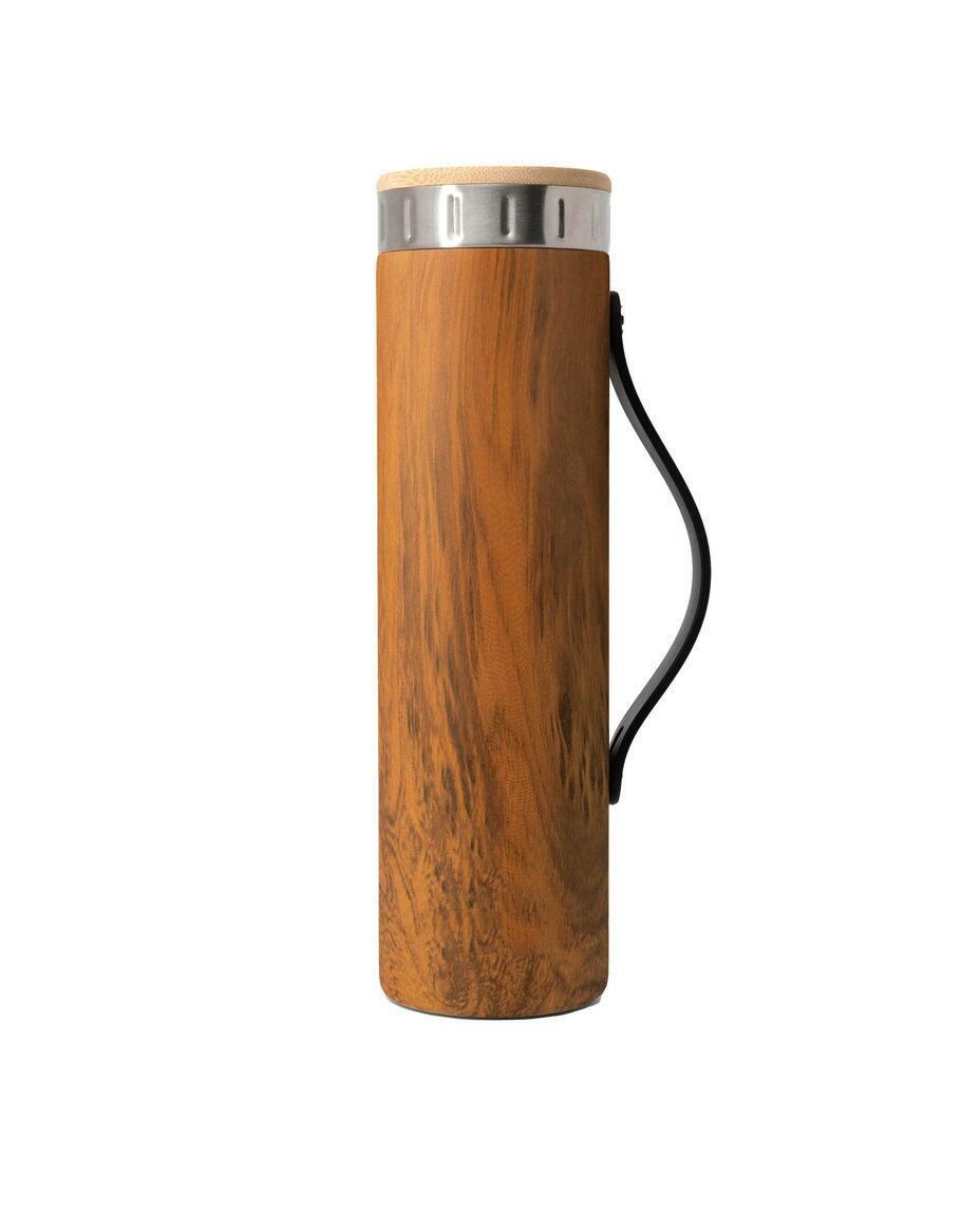 Iconic Teak Wood and Bamboo Water Bottle - Silicone-Strap   Trada Marketplace