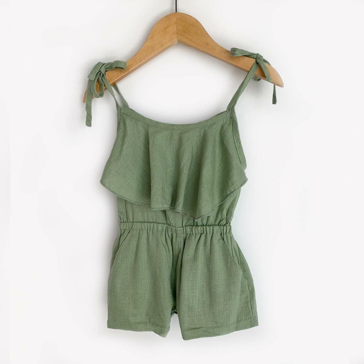 Green Linen Tie Romper | Trada Marketplace