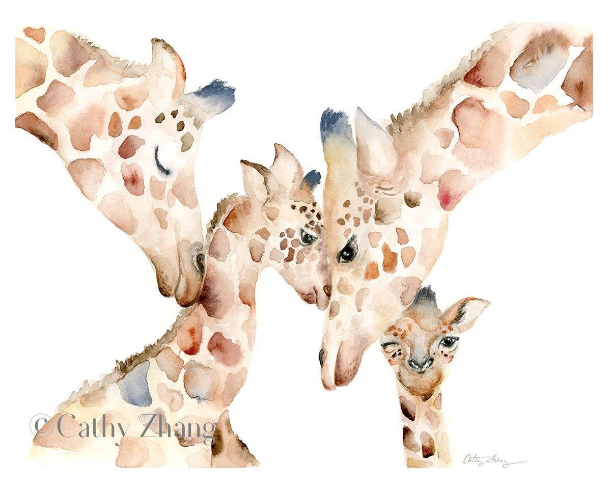 Giraffe Family Watercolor Art Print | Trada Marketplace