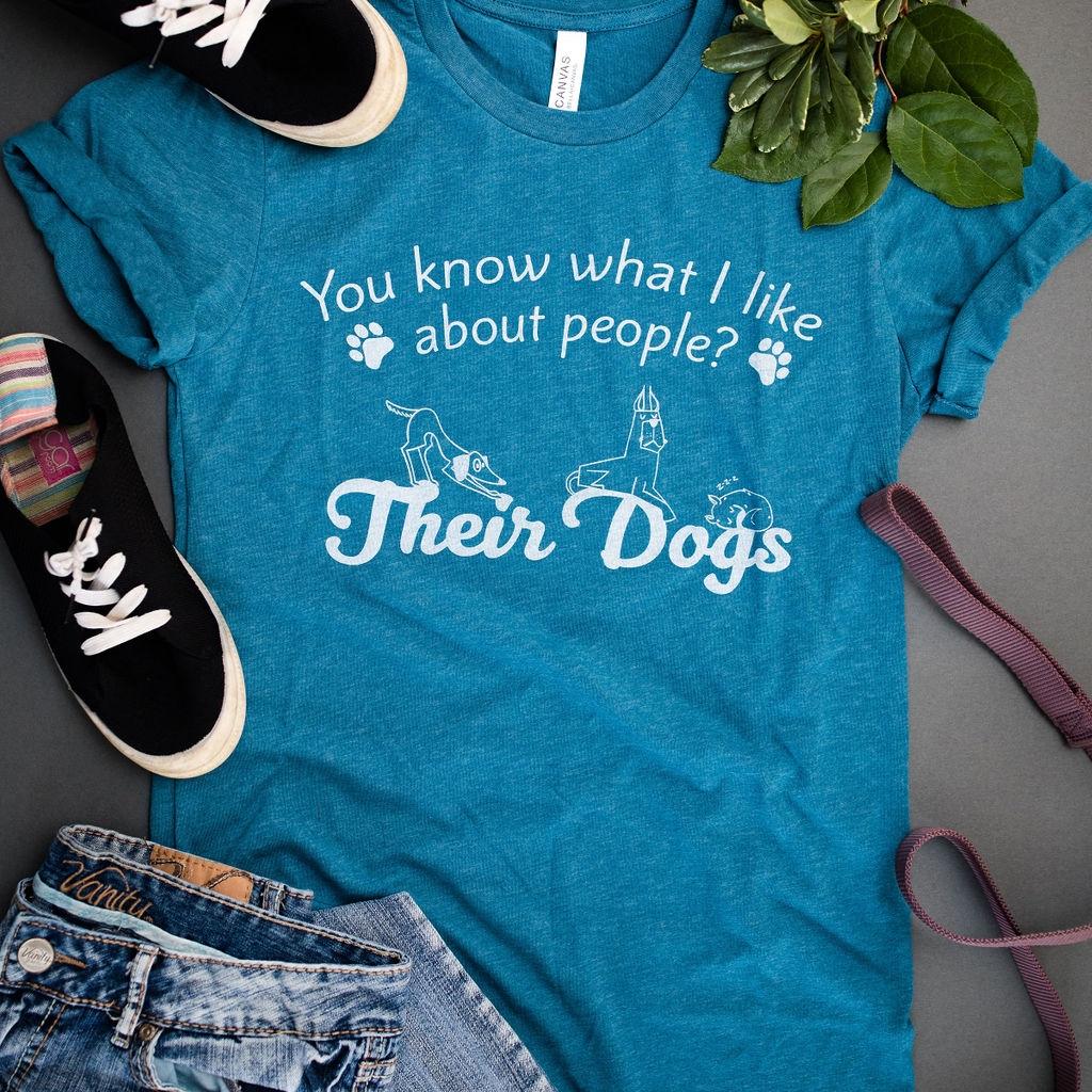 Unisex tee shirts - Their Dog - Heather deep teal  | Trada Marketplace