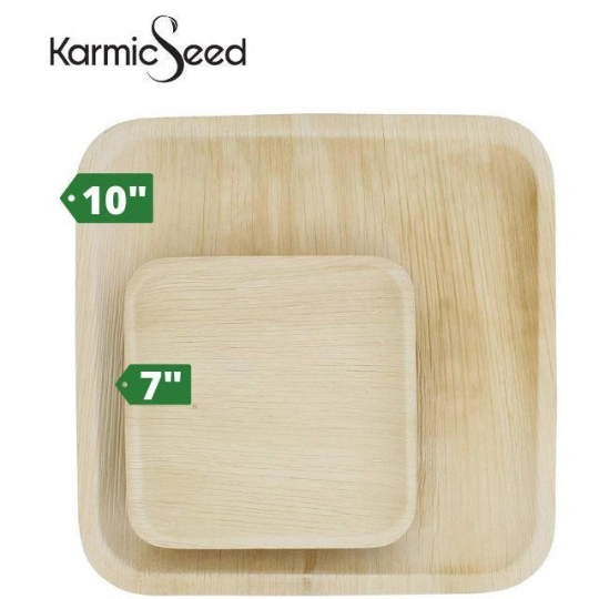 """Dinner Set 10"""" and 7"""" Palm Leaf Disposable Plates   Trada Marketplace"""