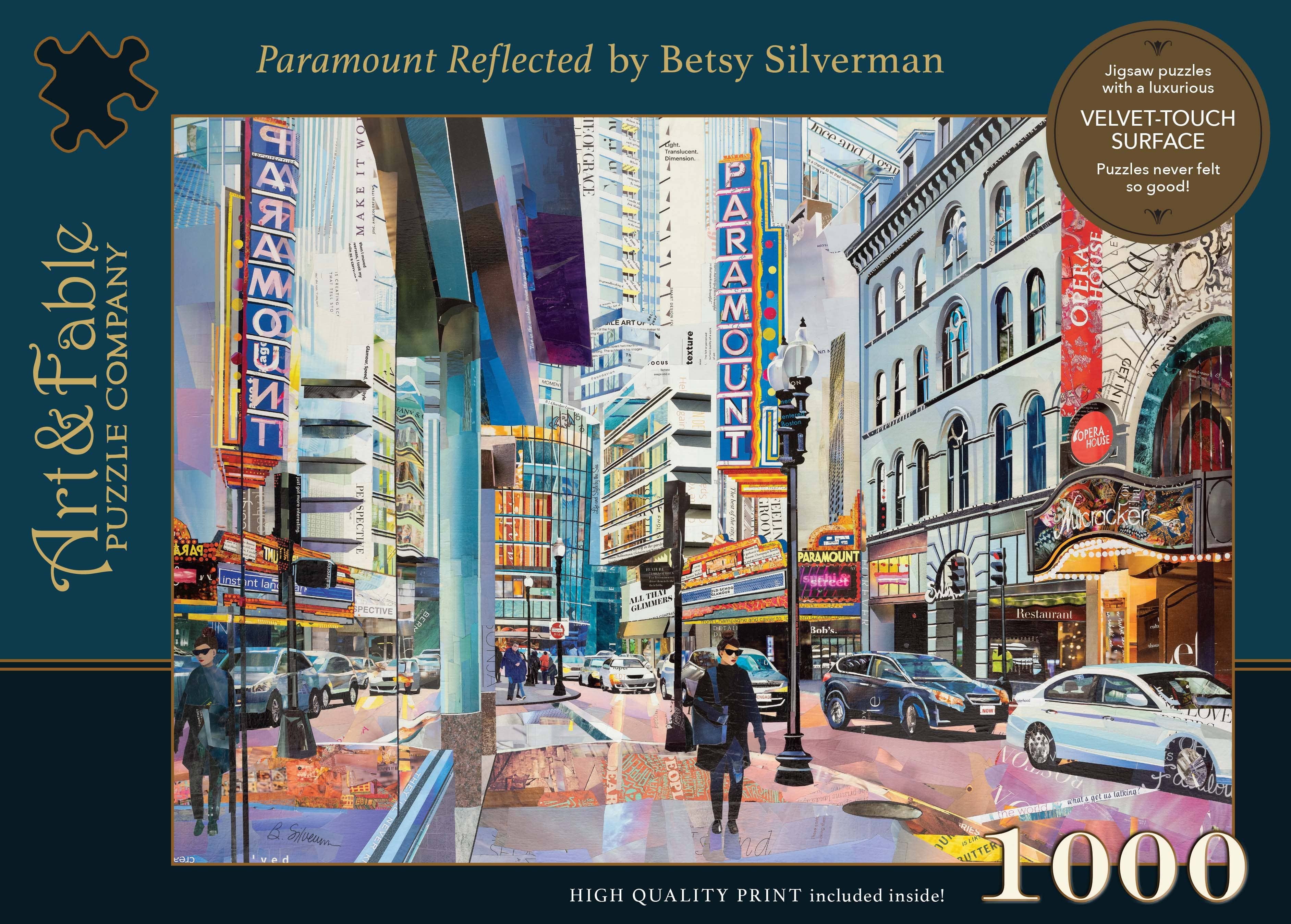 Paramount Reflected, 1000-pc Velvet-Touch Jigsaw Puzzle featuring the artwork of Betsy Silverman | Trada Marketplace