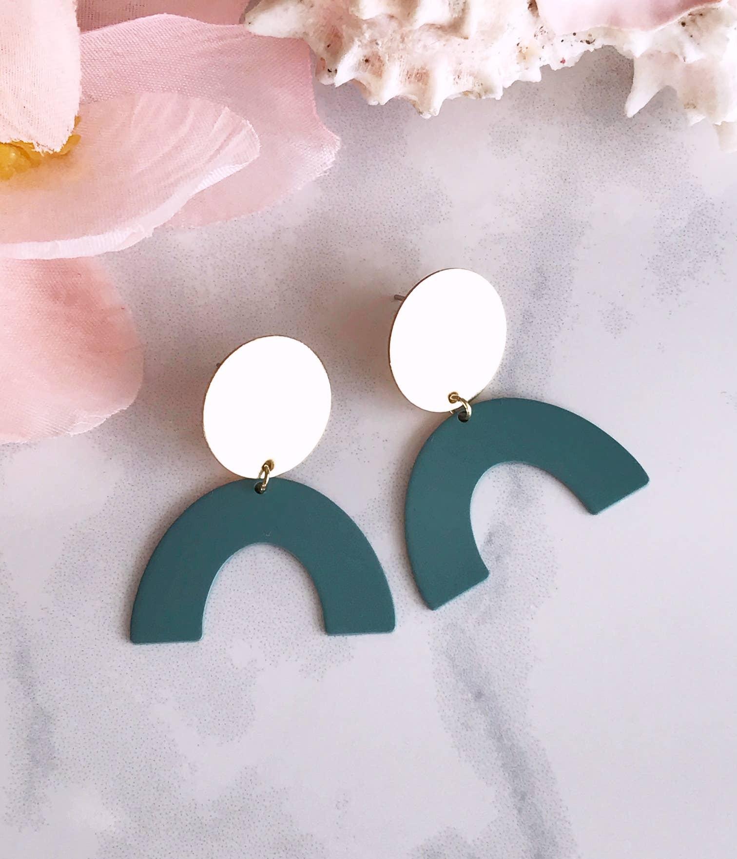moon rising earrings - sage   Trada Marketplace