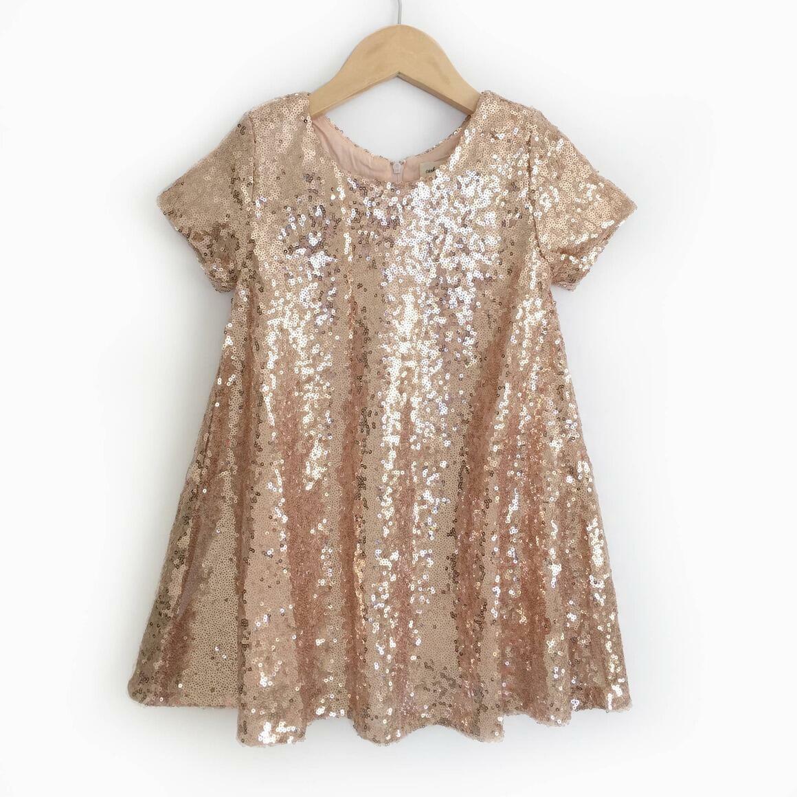 Rose Gold Sequin Dress - Short Sleeves | Trada Marketplace