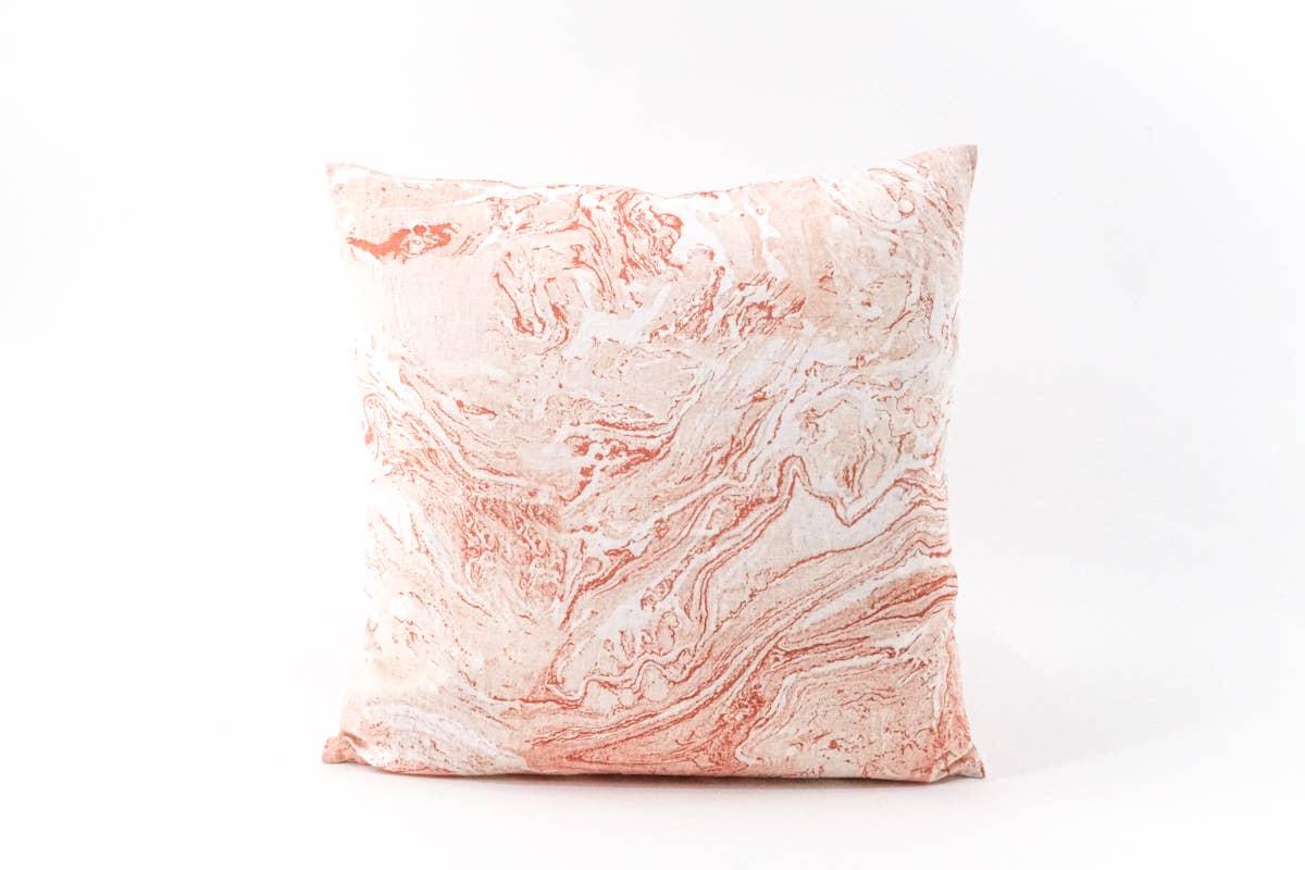 Pink Marbled Linen Pillow   Trada Marketplace