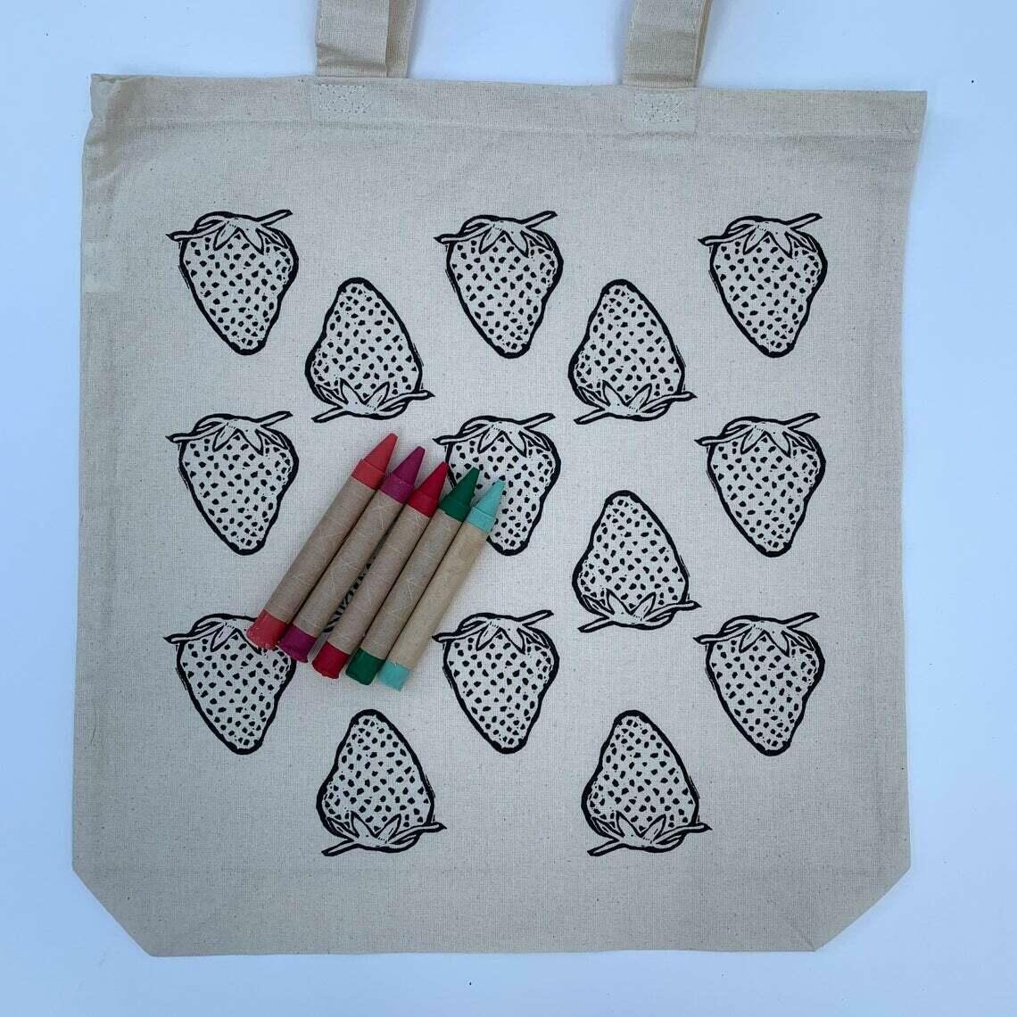 Strawberry: CYO Market Tote Kit With Eco-Friendly Crayons | Trada Marketplace