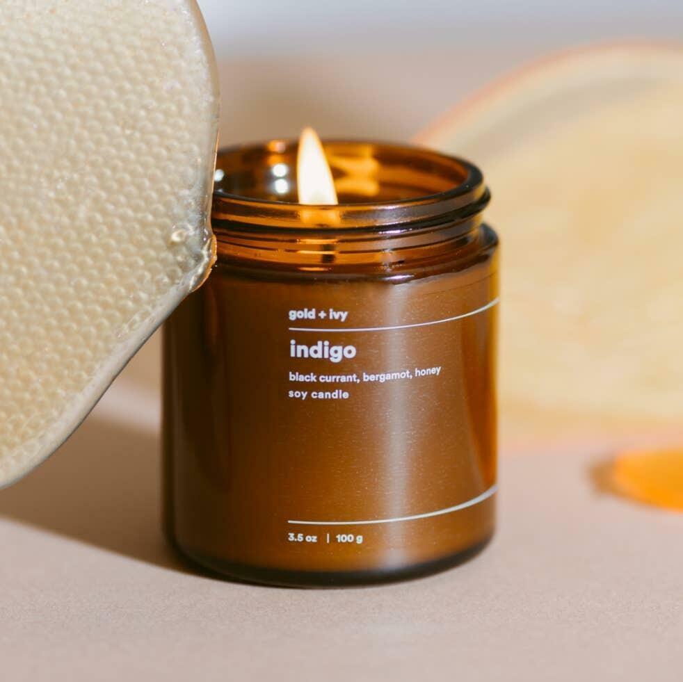 indigo 3.5 oz. soy candle - mini | Trada Marketplace